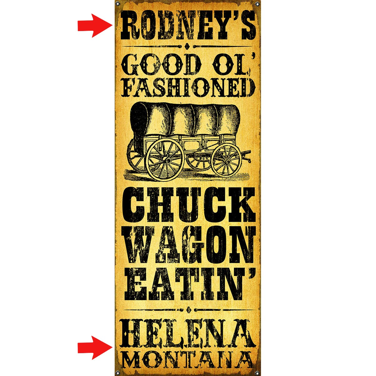 Chuck Wagon Eatin' Personalized Sign - 17 x 44