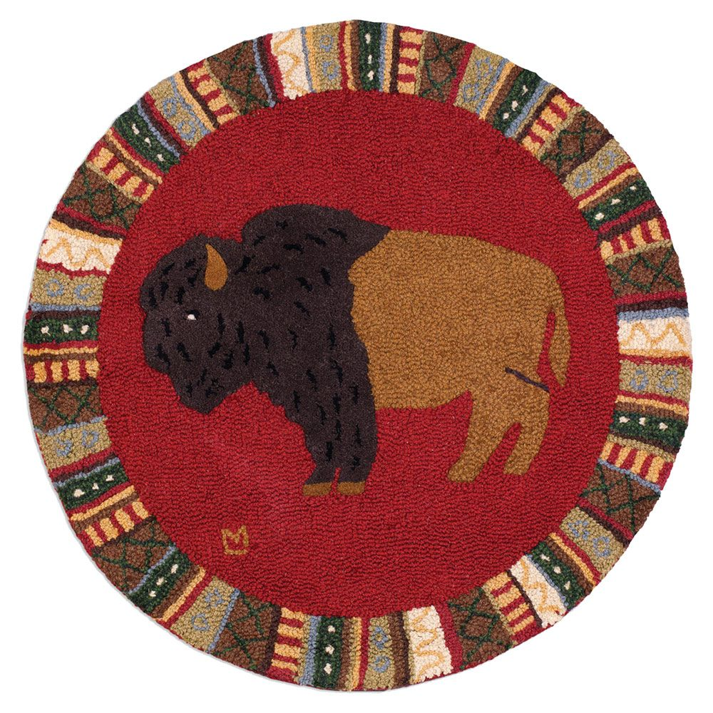 Cinnamon Buffalo Hooked Wool Round Rug - OUT OF STOCK UNTIL 1/22/21