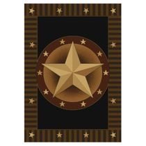 Circled Lone Star Rug - 3 x 7