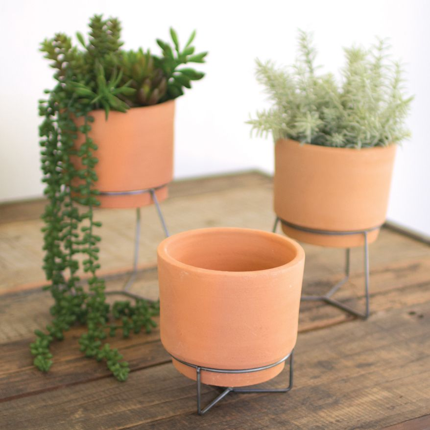 Clay Pots on Wire Stands - Set of 3