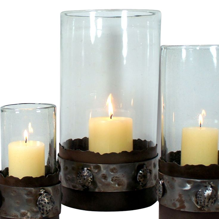 Clear Glass Candle Holder with Metal Polished Band Base - Large