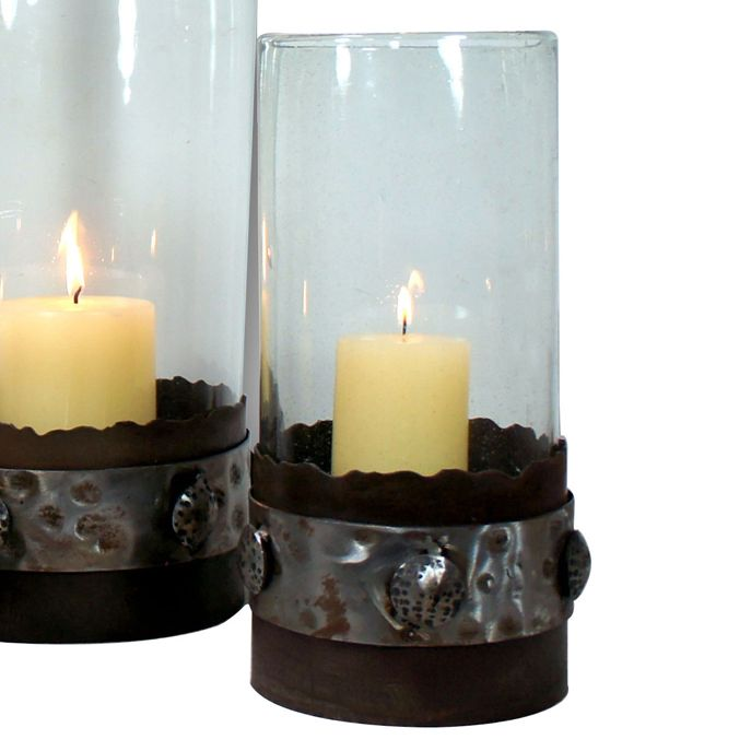 Clear Glass Candle Holder with Metal Polished Band Base - Medium