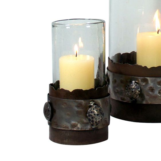 Clear Glass Candle Holder with Metal Polished Band Base - Small