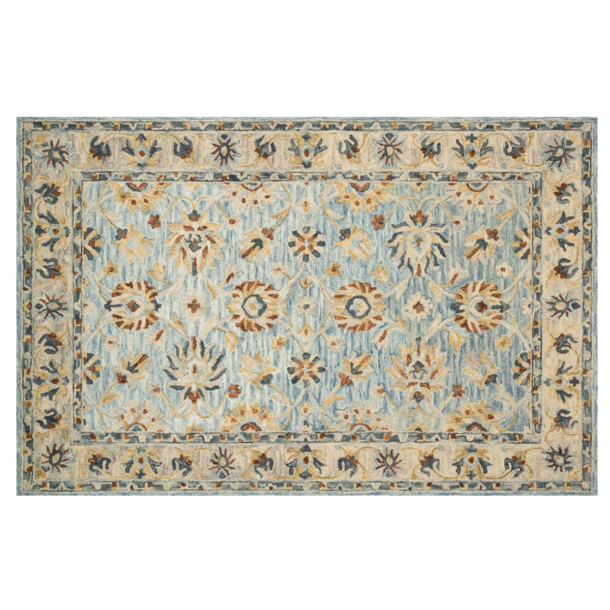 Clementine Natural Blue Rug - 5 x 8