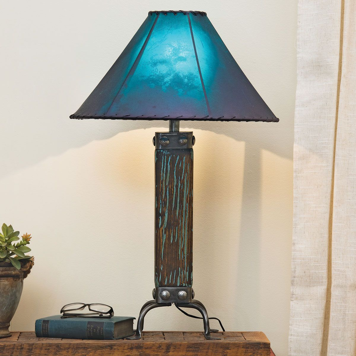 Cloudburst Turquoise Wood Table Lamp