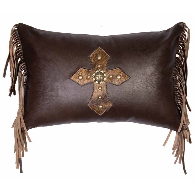 Coffee Leather Fringed Pillow with Hair on Hide Concho Cross