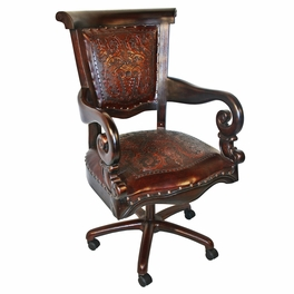 Colonial Antique Brown Swivel Office Chair