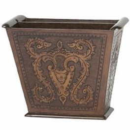 Colonial Hand-Tooled Leather Magazine Rack