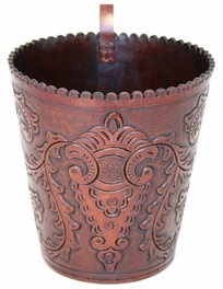 Colonial Hand-Tooled Leather Wastebasket