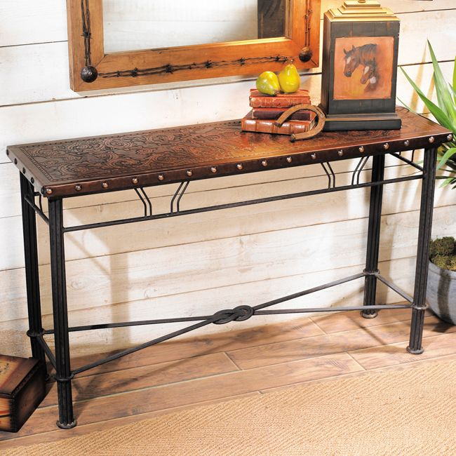 Colonial Iron and Leather Table