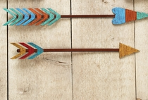 Gold, Red & Turquoise Colorful Arrow Metal Wall Art - 14 Inch