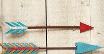Turquoise, Red & White Colorful Arrow Metal Wall Art - 14 Inch