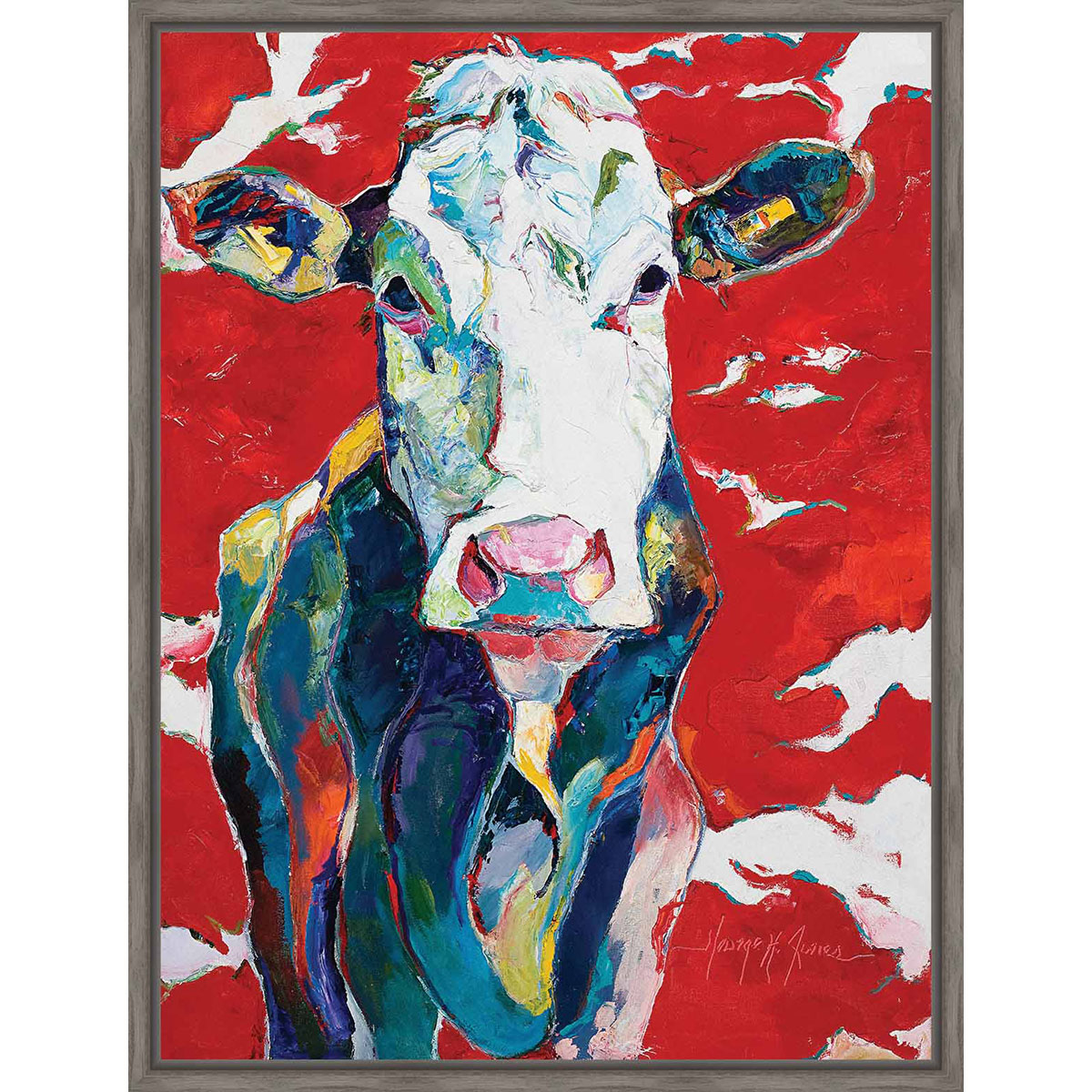 Colorful Cow Framed Canvas