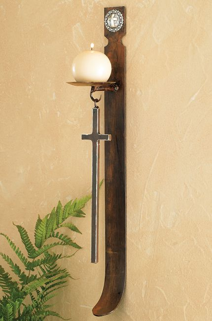 Concho Cross Wall Candle Holder