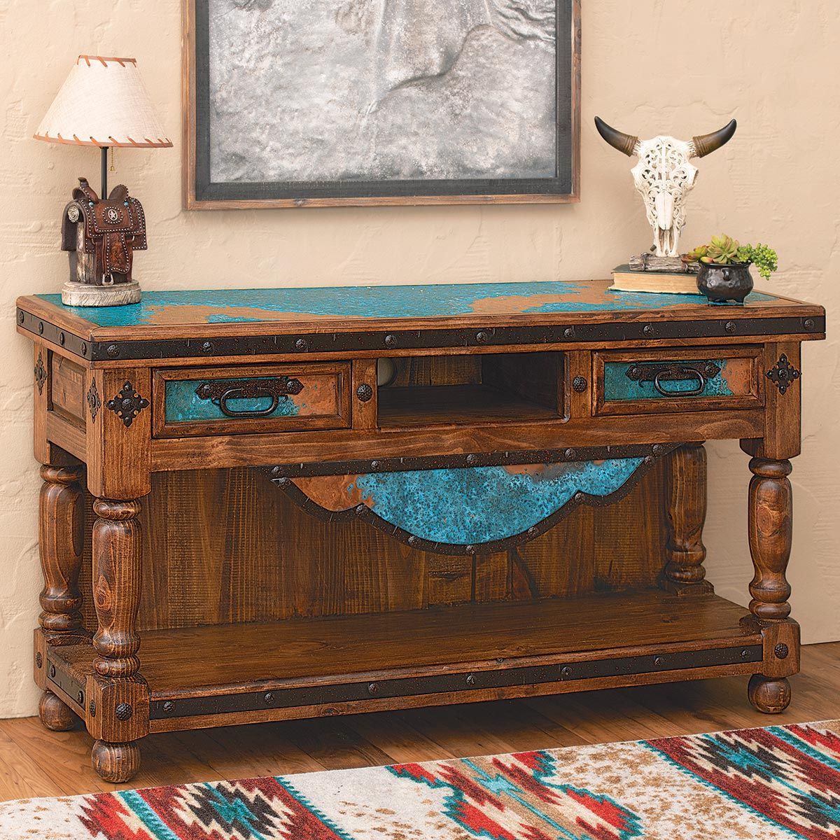 Copper Canyon Turquoise Console Table