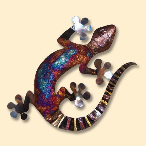 Copper Dripped Circle Gecko Metal Wall Art - Extra Large