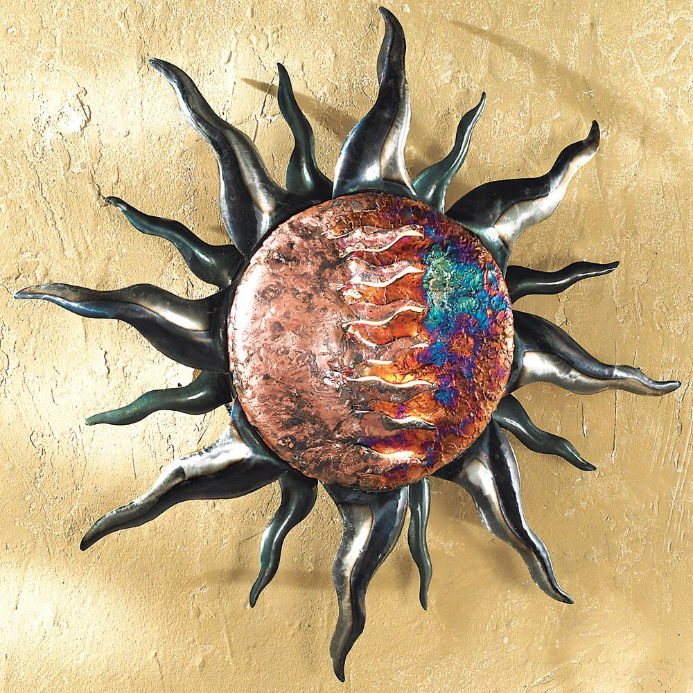 Copper Dripped Sun Metal Wall Art