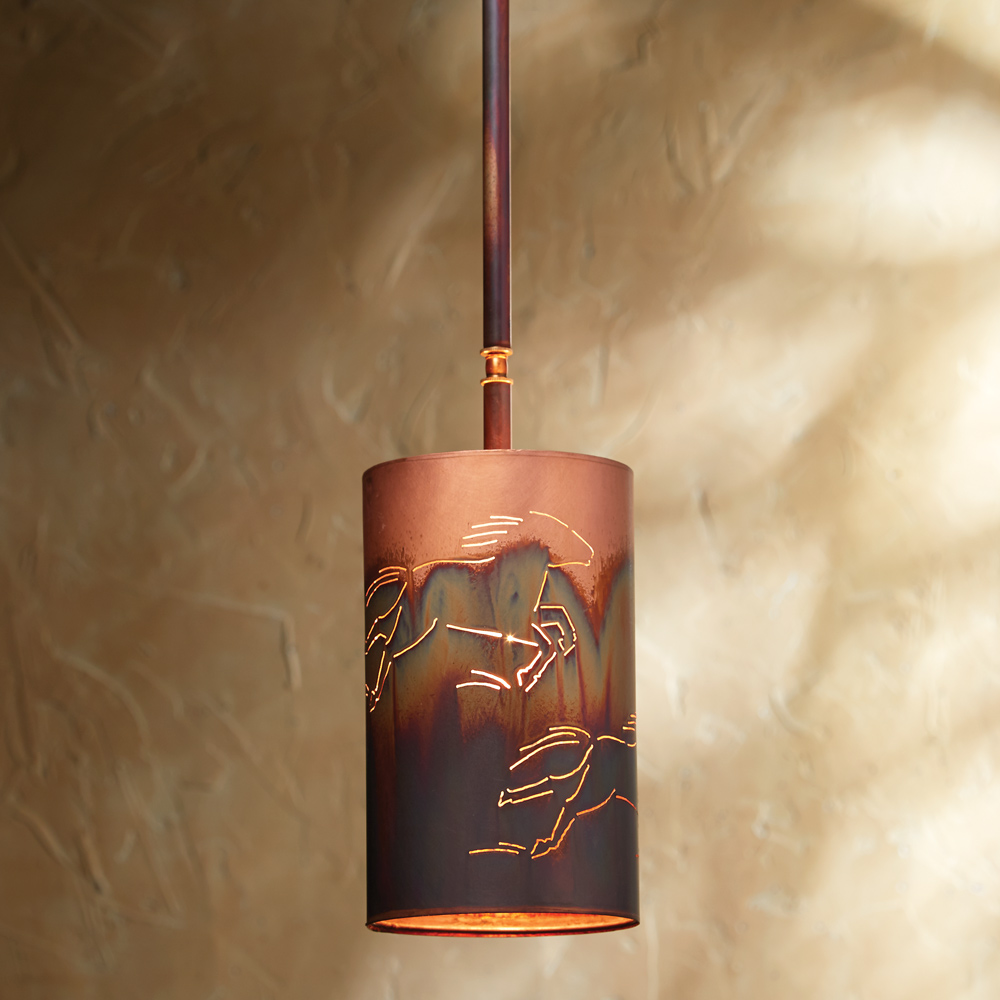Copper Horse Pendant Light