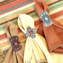Coral Stamped Cross Concho Napkin Rings - Set of 6