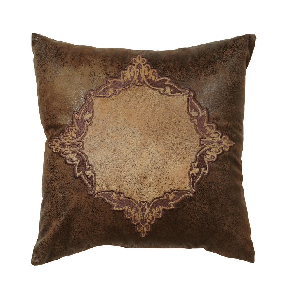 Coronado Embroidered Faux Leather Pillow