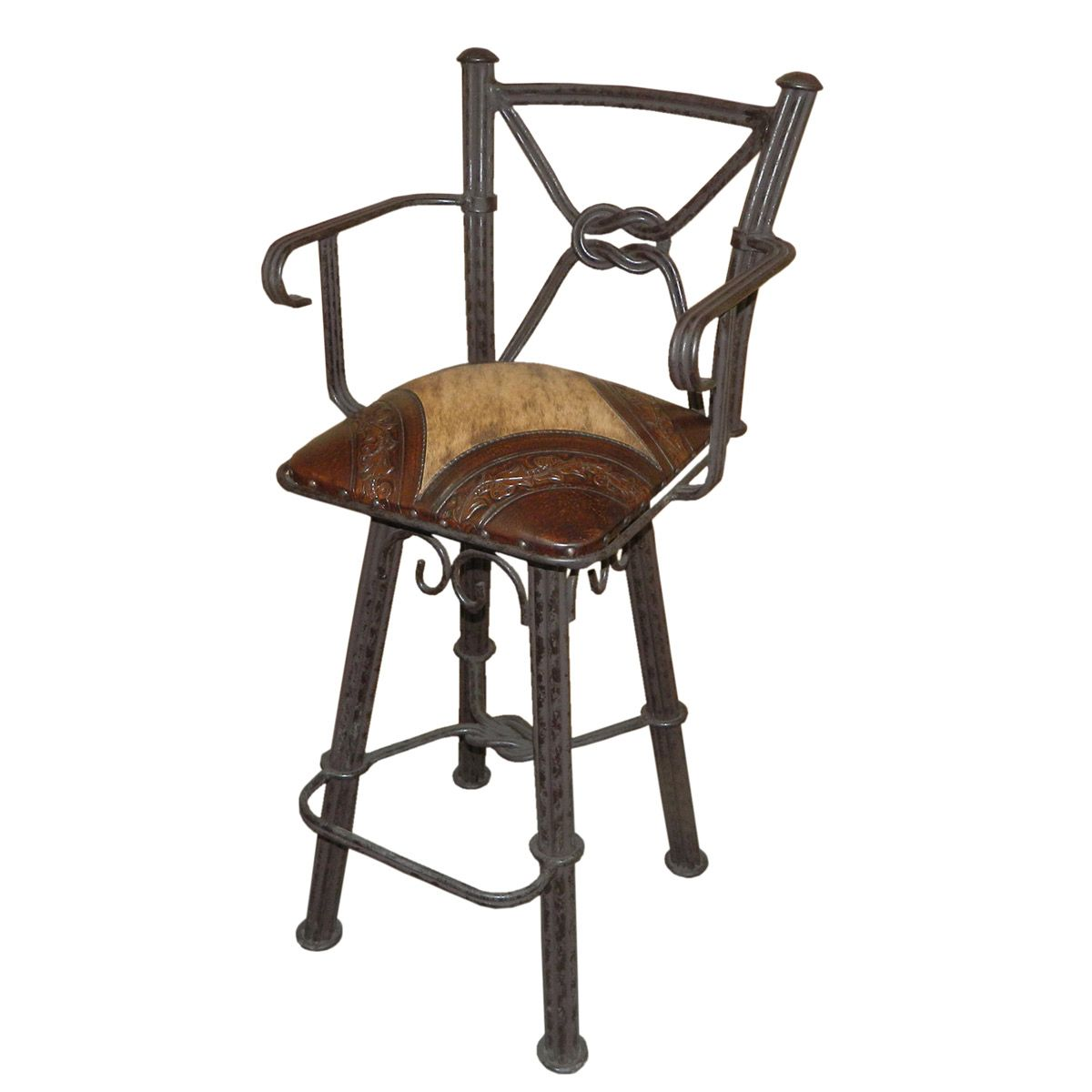 Coronado Iron Barstool with Arms and Swivel Back