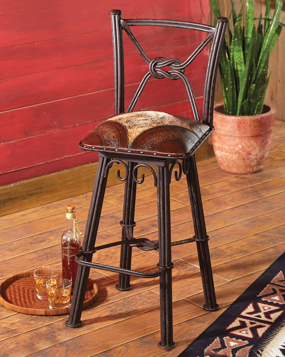 Coronado Iron Counter Stool with Swivel Back - Set of 3
