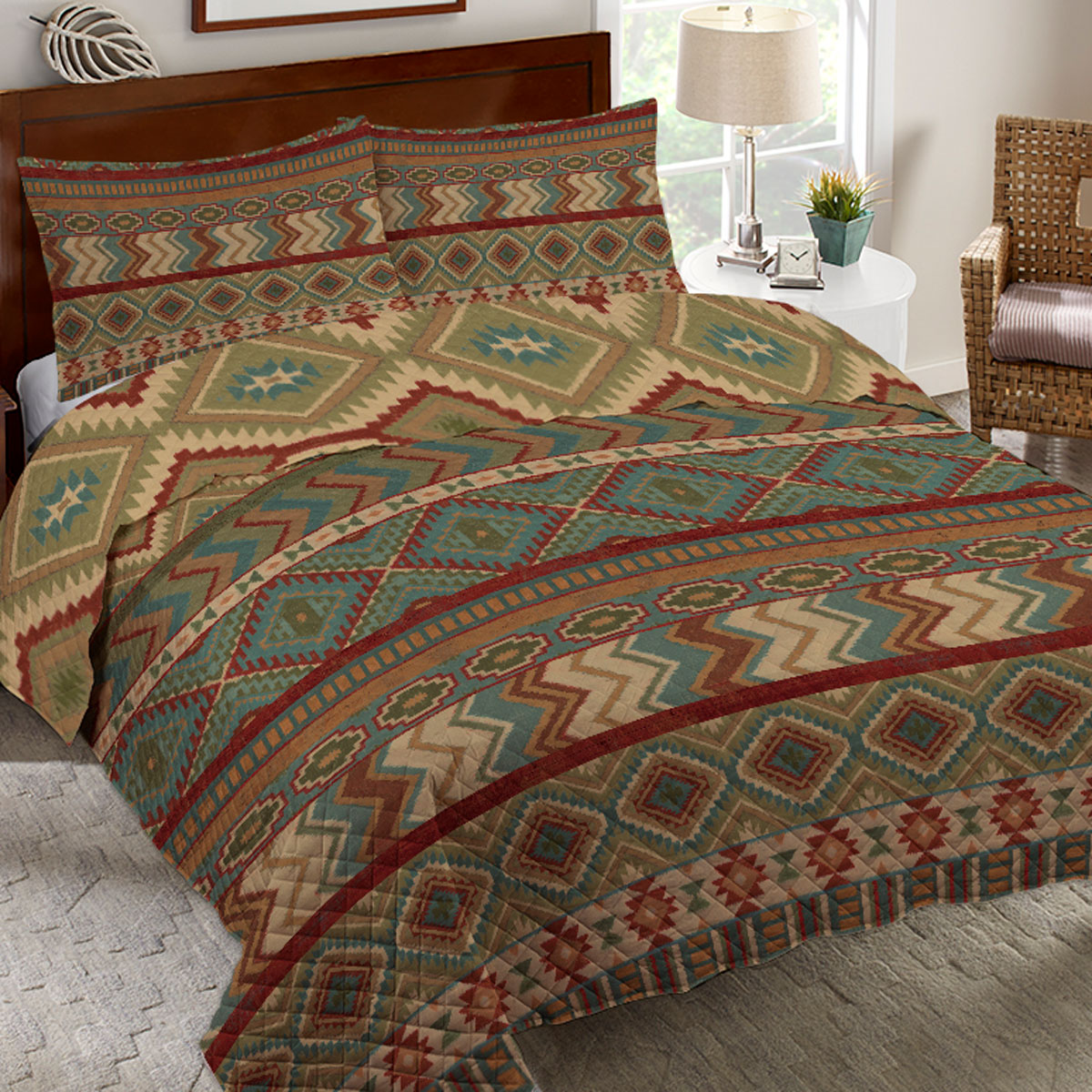 Country Mood Sage Quilt Set - Queen