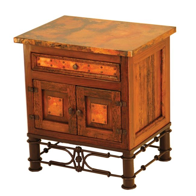 Country Nightstand with Copper - Pablo Base