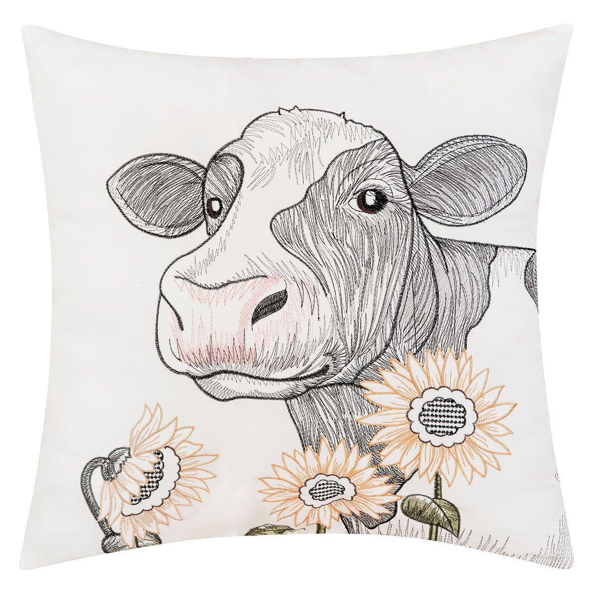 Cow Flower Indoor/Outdoor Embroidered Pillow