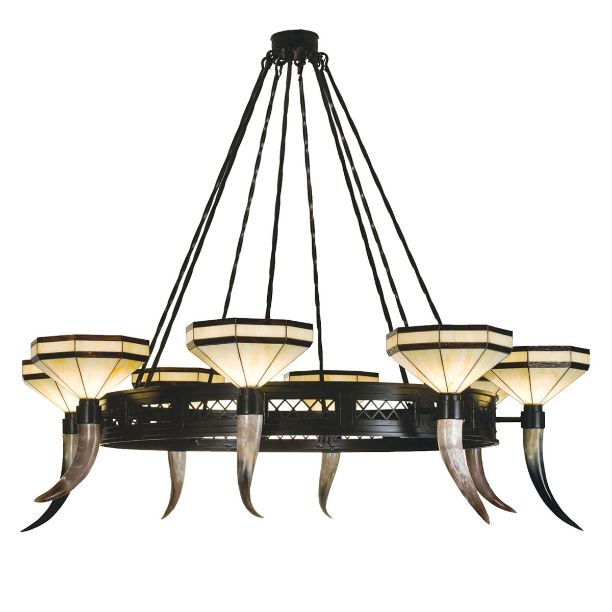 Cow Horn Stained Glass 8 Light Chandelier