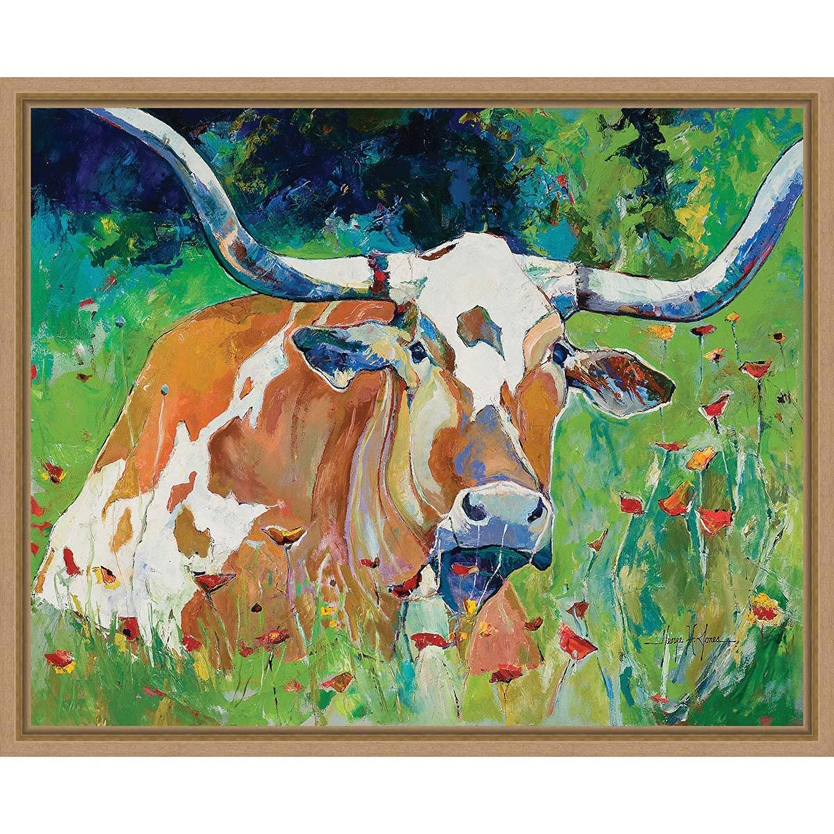 Cow in Colorful Field Framed Canvas