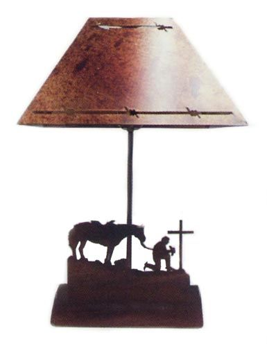 Cowboy At Cross Bedside Table Lamp - Metal Art
