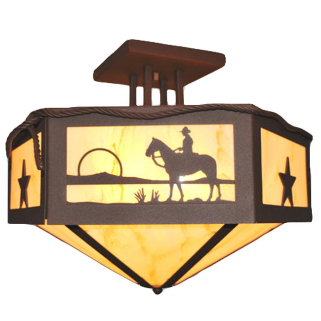 Cowboy at Sunset Hexagon Ceiling Mount