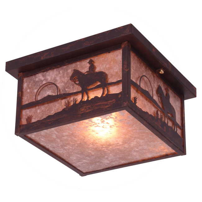Cowboy at Sunset Squaroka Ceiling Mount