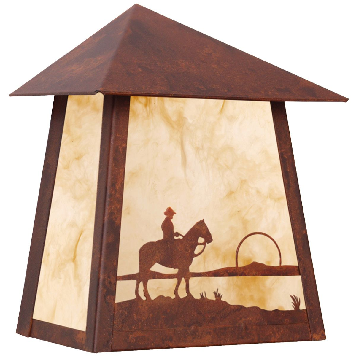 Cowboy at Sunset Wet Location Sconce - Rust
