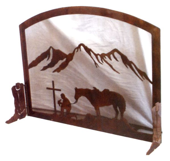 Cowboy At The Cross Fireplace Screen