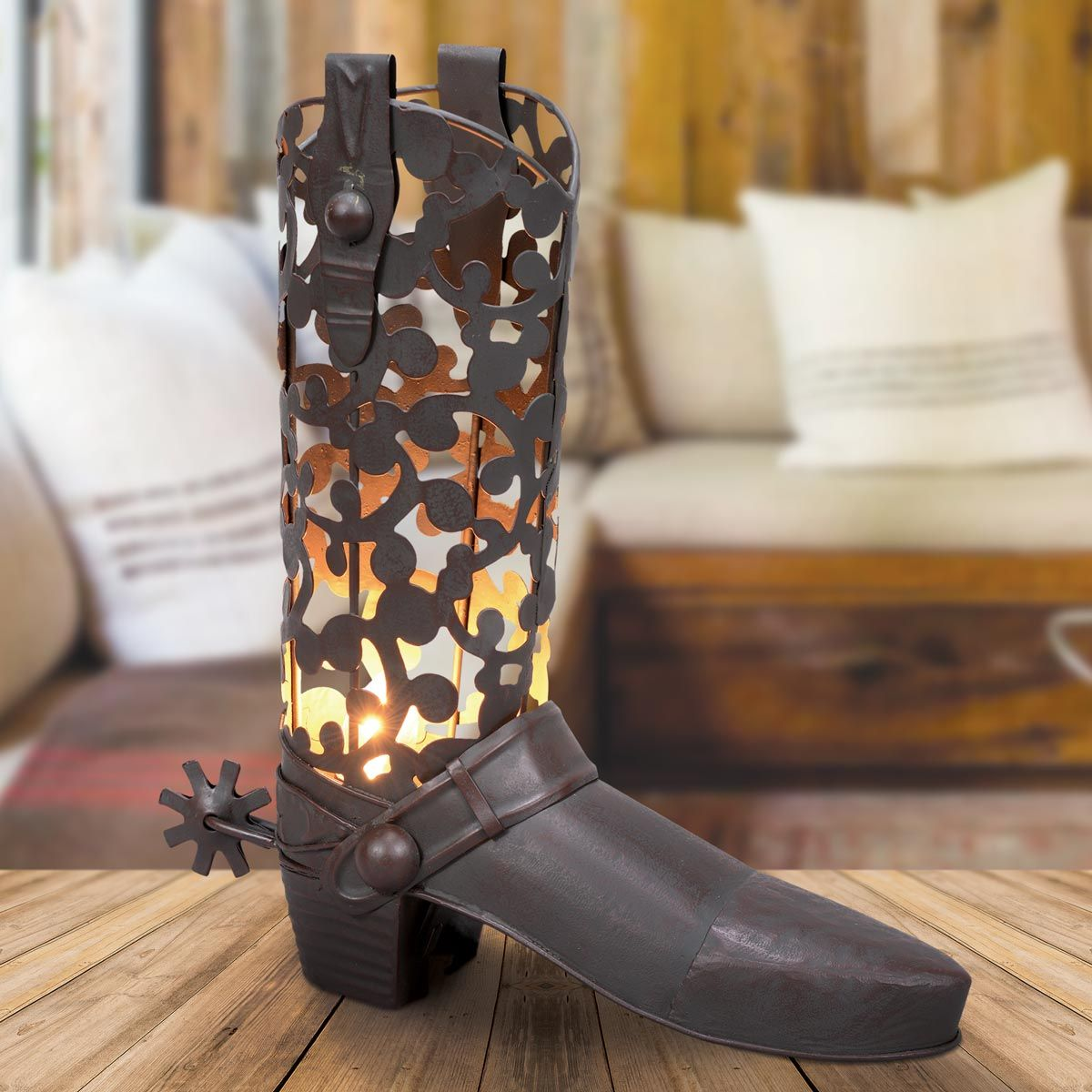 Cowboy Boot Metal Accent Lamp