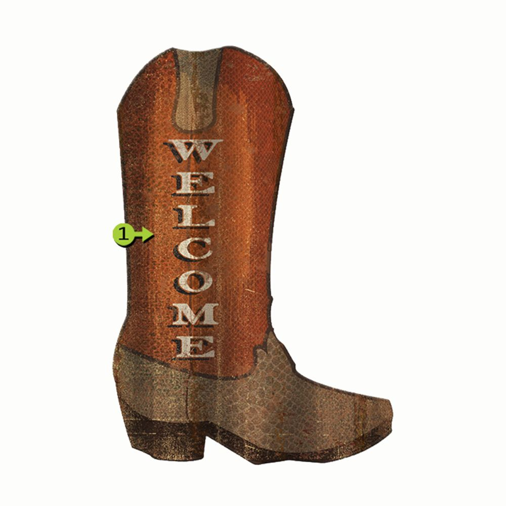 Cowboy Boot Personalized Corrugated Cutout