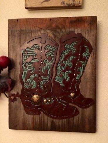 39a91901825 Cowboy Boots Decorative Wall Plaque - Turquoise Leather