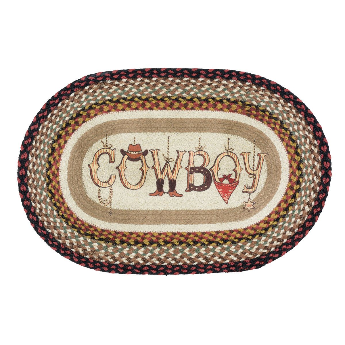 Cowboy Braided Oval Accent Rug