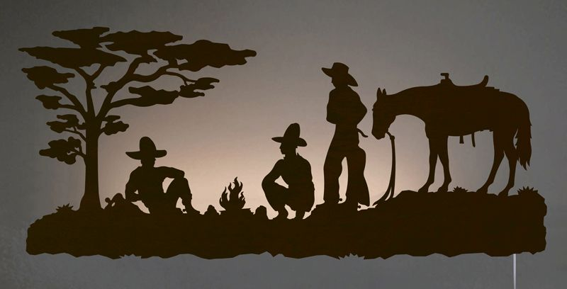 Cowboy Camp Back Lit Wall Art - Rust