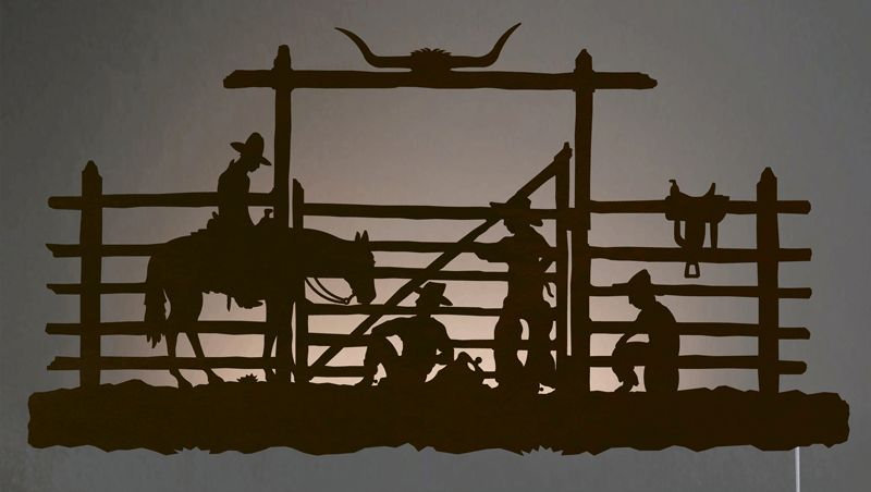 Cowboy Corral Back Lit Wall Art - Rust