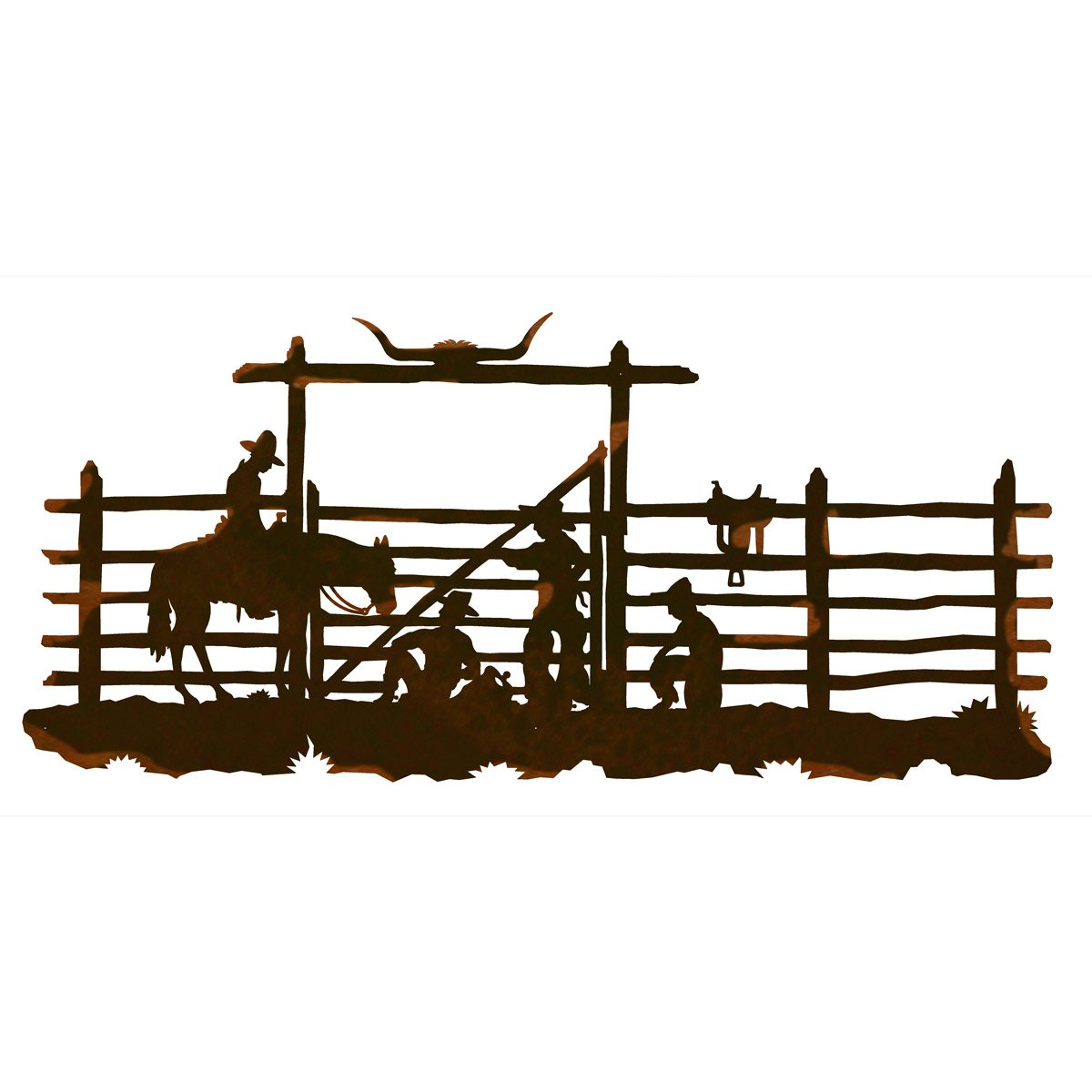 Cowboy Corral Metal Wall Art - 57 Inch