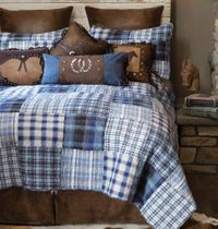 Cowboy Denim Plaid Bed Set - Queen