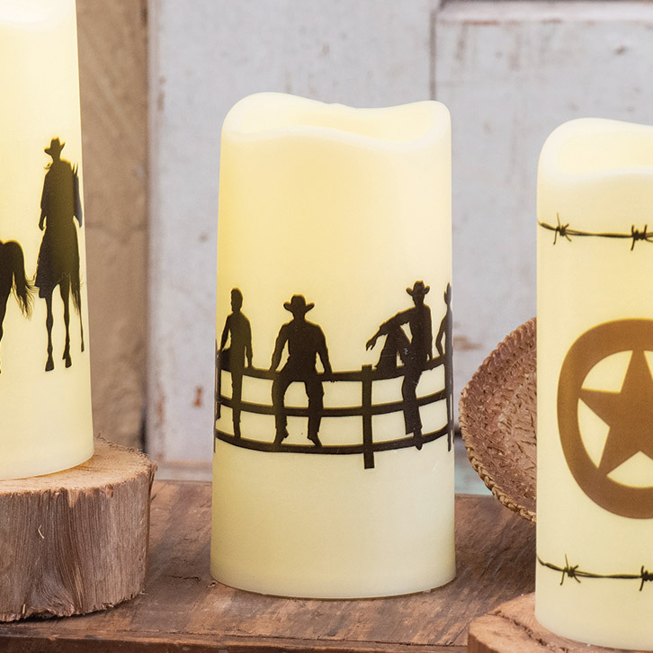 Cowboy Gathering LED Candle