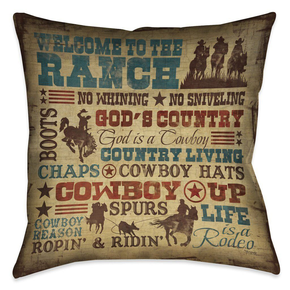 Cowboy Lifestyle 18 x 18 Outdoor Pillow