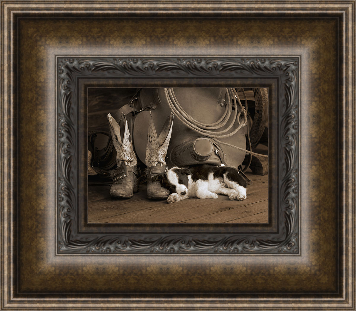 Cowboy puppy framed wall art