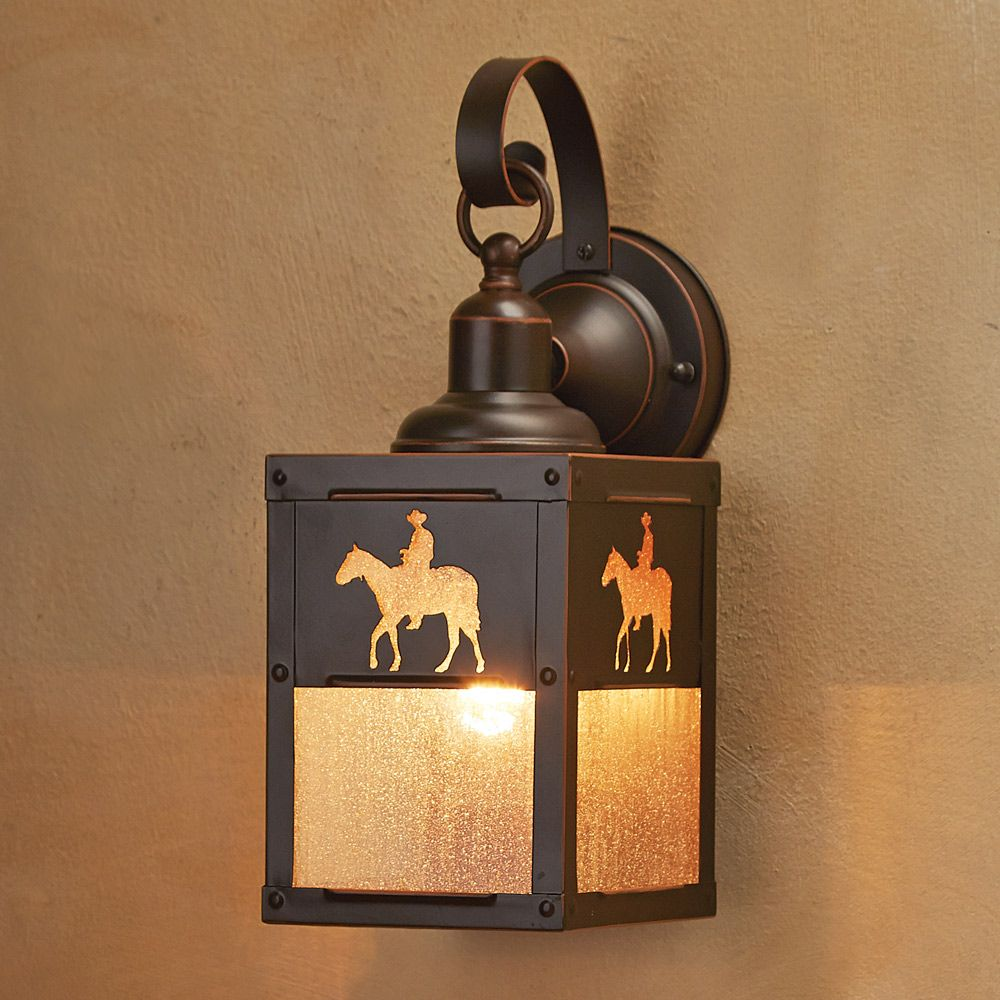 Cowboy Rider Outdoor Hanging Wall Lamp