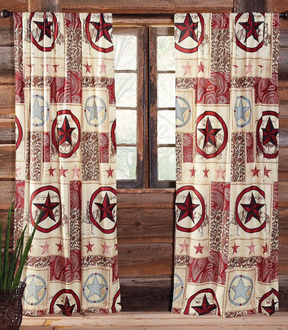 Cowboy Star Western Lined Drapes