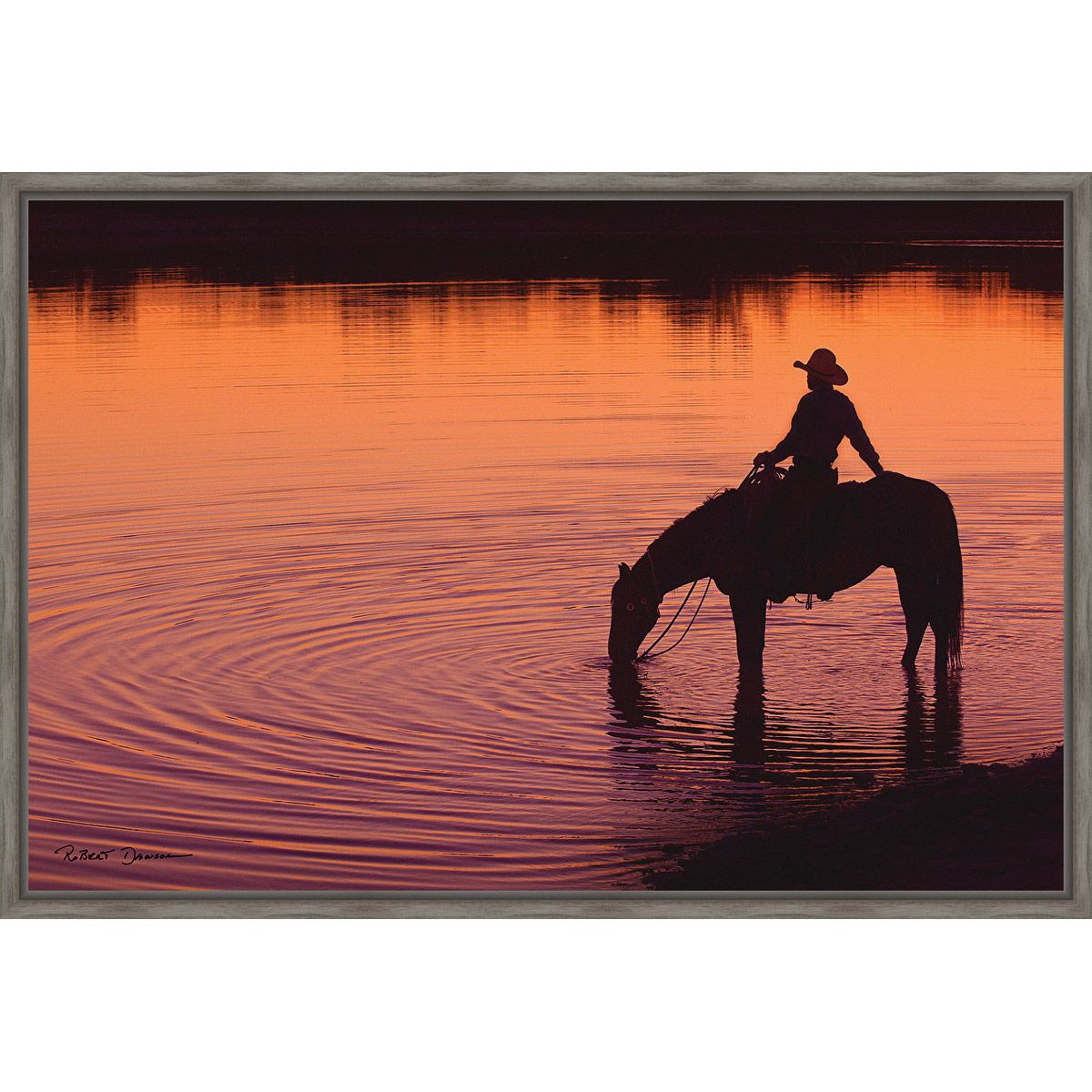 Cowboy Sunset Silhouette Framed Canvas